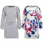 Womens Chiffon Lined Cut Out Cold Shoulder Flare Swing Semi Sheer Blouse Dress