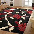 SMALL LARGE MODERN QUALITY CARVED THICK BLACK RED JASMINE FLORAL QUALITY RUGS