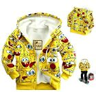 SpongeBob Winter Thick Boys Coat Hoodies Cotton Long Sleeve Yellow Cartoon 2T-10