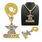 """NEW ICED OUT '5 CHICK' PENDANT & 5mm/20"""" ROPE CHAIN HIP HOP NECKLACE - RC2471G"""