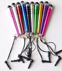3-PACK BAT STYLUS 3.5mm jack dust cap FOR apple iphone 6 4s 5 ipod touch nano 7