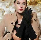 """40cm(15.75"""") long spring fashion genuine real suede leather gloves black"""