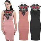 Women's Floral Embroidery Crochet Lace Neck Tie Crepe Sleeveless Bodycon Dress