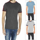 Brave Soul Mens Pete Designer Contrasting Shoulder Panel Plain Marl T Shirt