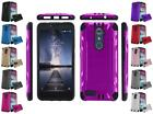 For ZTE ZMAX Pro Blade X Max Carry Brushed Dual Layer Armor Hybrid Cover Case
