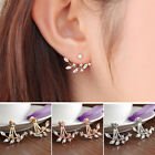 Leaf Earrings Crystal Jewelry Stud Earring 3 Colors Ladies Women Leaves Jacket