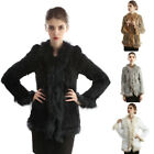 Women Winter Real Rabbit Fur Raccoon Fur Collar Coat Jacket Warm Knit 4 Colors