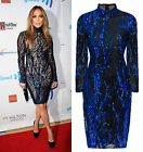 BLACK TRANSPARENT BLUE TREE LUXE SEQUIN TURTLE NECK MIDI BODYCON DRESS 6-12