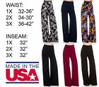 USA Solid Palazzo Yoga Pants Foldover High Waist Flare Pants Plus Size 1X-3X