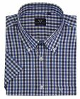 Cotton Valley Mens Cotton Rich Checked SS Shirt (14326) in Blue/Navy