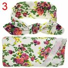 Newborn Boy Girl Burp Cloth Knit Swaddle Blanket Set Baby Floral Headband