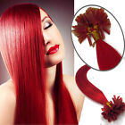 """16""""18""""20""""22"""" Pre Bonded Nail/U Tip Remy Human Hair Extensions Staight #Red 100S"""