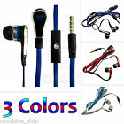 3.5mm Jack In-Ear Earphone Headphone Earbuds Headset Mic Flat Tangle Free Cable