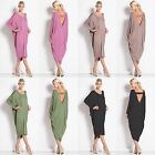 New Womens Ladies Long Sleeve Backless Party Cocktail Clubwear Baggy Midi Dress