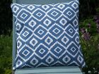 "John Lewis Fabric Cushion Cover - 'Nazca""  Indian Blue - Double Sided"
