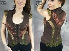 WOMENS WAISTCOAT LACE Frilly Studded Hippy Pixie Psytrance Festival Goa Party
