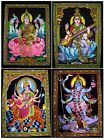 10pc-25pc Indian Goddess Sequin Cotton WallHanging Tapestry Medium Wholesale Lot