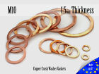 M10 Thick 1,5mm Metric Copper Flat Ring Oil Drain Plug Crush Washer Gaskets