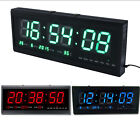 Large LED Digital Square Wall Watch Alarm Clock Calendar 12/24H Timer