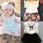 2PCS Infant Baby Girls Cotton T-shirt Tops + Floral Dress Skirt Outfits Clothes