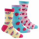 girls triple pack of fruit design ankle socks - 6 - 8.5 -9-12.5 -12.5-3.5