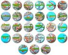 """UK TOWNS & CITIES (Various Designs) - 1"""" / 25mm Button Badge - (S-Y) Road Map"""