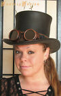 Steampunk Hat Apocalyptic Goggles Futurist Mad Max Leather HIGH Top Hat Deluxe