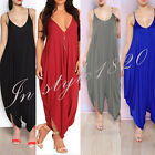 Hot 4 Colors Sling Sleeveless Cotton Backless Plus Size Jumpsuit Casual Trousers