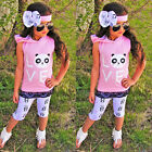 Toddler Baby Kids Girl Love Panda Hooded Shirt Tops+Pants+Headband Outfits 3PCS