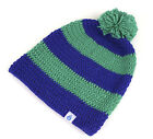 DRY KIDS Childrens Hand Crocheted Beanie Bobble Hat with Pompom Striped design