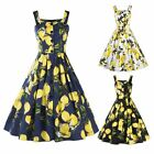 50s 60s Women Vintage Style Sleeveless Lemon Print Dress Cocktail Party Sundress