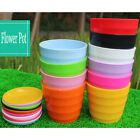3PCS New Home Garden Colorful Round Plastic Flower Pot Basket + Tray Plant Decor