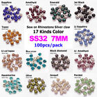 100p 7mm crystal Sew On glass cup Rhinestone Montees silver base Beads Craftses
