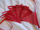 10FT (3M) Handmade Fabric Bunting - spots, stripes, red, white & blue - FREEPOST