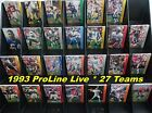 27 TEAMS _ $1.00 Each _ 1993 NFL Pro Line LIVE Football Cards _ Choose 1 or More $1.0 USD