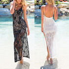 Summer Lady Sexy-V Sleeveless Sundress Lace Cocktail Party Beach Sun Long Dress