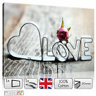 LARGE LOVE ROMANTIC CANVAS - STRETCHED CANVAS WALL ART PRINTS PICTURES
