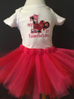My 1st Valentines Day Shirt Tutu Outfit Set Party EMBROIDERED