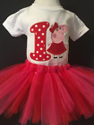 Peppa Pig Birthday Shirt Tutu Outfit Set Party EMBROIDERED 1st 2nd 3rd 4th 5th