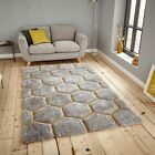 Geometric Rug Grey Yellow Glossy Modern Large 150x230 120x170 Silky Soft