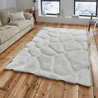 Cream Silky Rug Glossy 3D Large 120x170 150x230 Shaggy Soft Modern Luxury