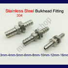Genuine Stainless Steel 304 Bulkhead Fitting Hose Barb Connector Fuel Water Boat