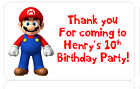 PERSONALISED PARTY BAG CONE FAVOUR ADDRESS LABEL STICKERS SUPER MARIO BROS