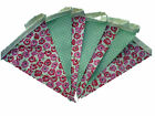 Pink poppies mint green spots single sided bunting wedding hen birthday party