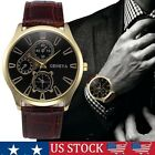 Luxury Mens Stainless Steel Leather Casual Wrist Watch Business Formal Watches