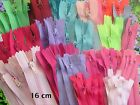 PACK of 50  x 16 cm CLOSED END No3 NYLON ZIPS. PIN LOCK. SEWING & CRAFT ZIPPERS