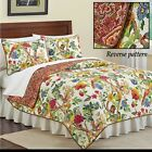 Full/Queen Tropical Gardens Reversible Floral Quilt