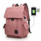 New USB External Laptop Backpack Canvas Rucksack Travel Backpack Girl School Bag