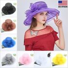 NEW Elegant Women Wide Brim Kentucky Derby Sun Hat Wedding Tea Party Church Cap