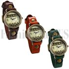 Retro Mens Womens Cool Punk Hollow Dial Wrist Watch Leather Band Bracelet Cuff image